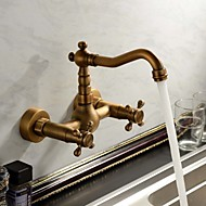Wall Mounted Two Handles Three Holes in Antique Copper Bathroom Sink Faucet