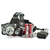 6000lm 3x XM-L u2 + 2R5 tête conduit headlamp 2x18650 batterie + chargeur ca