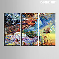 E-HOME® Stretched Canvas Art Abstract Woman Color Pattern Decoration Painting  Set of 3