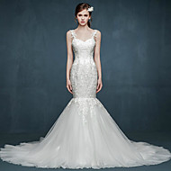 Trumpet/Mermaid Wedding Dress - White Court Train Spaghetti Straps Tulle