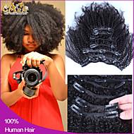 """6a cabelo virgem encaracolado Kinky clipe cambojano em extensões de cabelo humano grampo de cabelo humano em extensões de 10 """"-26"""""""