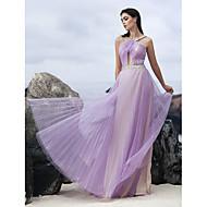 TS Couture Formal Evening Dress - Lavender A-line Halter Floor-length Chiffon