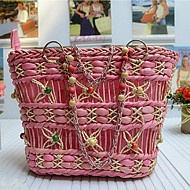 Women Straw Casual / Outdoor Shoulder Bag / Tote Beige / Pink / Black