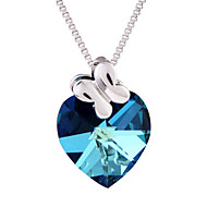 18K White Gold Plated Crystal Heart of the Ocean Blue Purple Yellow Chain Pendant Necklace