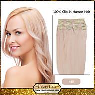 """clip en extensiones de cabello humano de 20 """"-24"""" rubia blanco (# 60) 8pcs / set"""