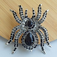 Unique 2.36 Inch Silver-tone Black Gray Rhinestone Crystal Spider Brooch Art Deco Halloween Jewelry