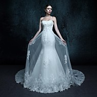 Trumpet/Mermaid Wedding Dress - Ivory Chapel Train Sweetheart Tulle