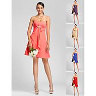 Knee-length Chiffon Bridesmaid Dress - Watermelon / Royal Blue / Ruby / Champagne / Grape Plus Sizes / Petite A-line / PrincessSweetheart