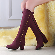 Women's Shoes  Chunky Heel Fashion Boots / Round Toe Boots Outdoor / Office & Career / Casual Black / Blue / Burgundy