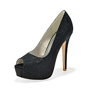 Women's Spring Summer Fall Winter Glitter Wedding Party & Evening Stiletto Heel Black Silver Gold