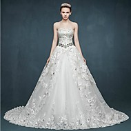 Ball Gown Wedding Dress - White Chapel Train Sweetheart Tulle