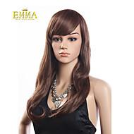 hot salg brunt langt hår varmebestandig bølget paryk