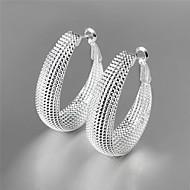 Women`s Cute  Party  Work  Casual Silver Plated  Brass Hoop Earrings