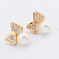 Women's Fashion Cute Set of Two Gold Plated Stainless Steel bowknot Earring with Rhinestone and Imitation Pearl
