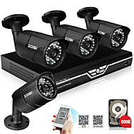 ZOSI@4CH 720P AHD Security Camera System with 4 Indoor/ Outdoor 30m Night Vision 720P Security Cameras 500G HDD