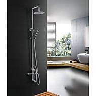 Duscharmaturen - Zeitgenössisch - Wasserfall / Regendusche / Handdusche inklusive - Edelstahl (Antikes Messing)
