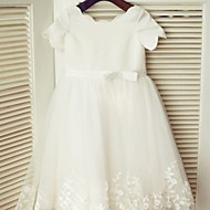 Princess Knee-length Flower Girl Dress - Lace / Satin Short Sleeve Scoop with