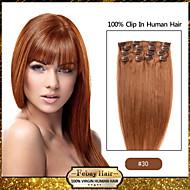 "18 ""7pcs Auburn luz (# 30) no grampo Remy extensões de cabelo humano"