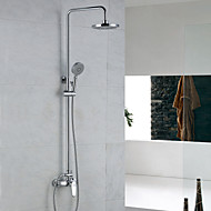 Contemporary Shower System Rain Shower Handshower Included with  Ceramic Valve Two Holes Single Handle Two Holes for  Chrome , Shower