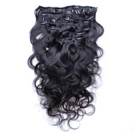 klamerka w ludzkich włosów rozszerzeniach brazylijski klip fala organizm ludzki w przedłużanie włosów 7pcs włosy / 120g dużo klasy 6a