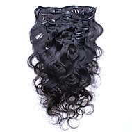 Klipps in den Menschenhaarverlängerungen brasilianische Körperwelle Clip in Haarverlängerungen Menschenhaar 7pcs / lot 120g 6a Grad