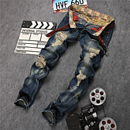 2015 New Men Euro-America Style Scratched Patch Hole Jeans