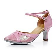 Non Customizable Women's Dance Shoes Latin/Modern/Ballroom Leatherette/Sparkling Glitter Chunky Heel Black