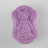 coelho mãe e filho em forma de moldes de sabão molde do bolo de casamento do chocolate fondant molde de silicone, ferramentas de decoração