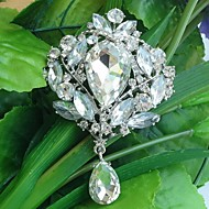 Wedding 3.54 Inch Silver-tone Clear Rhinestone Crystal Drop Flower Brooch Pendant Art Deco