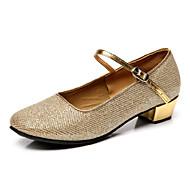 Non Customizable Women's/Kids' Dance Shoes Latin Flocking Chunky Heel Silver/Gold