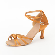 Chaussures de danse(Noir Marron Rouge) -Non Personnalisables-Talon Aiguille-Satin-Latine Salon
