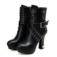 Women's Shoes Spool Heel Fashion Boots/Round Toe Boots Dress/Casual Black/White