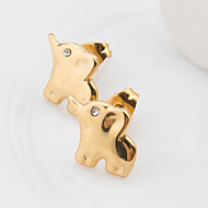 Women's Fashion Elegant Gold Plated Stainless Steel Elephant Earring with Rhinestone