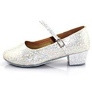 Non Customizable Women's/Kids' Dance Shoes Latin Flocking Chunky Heel