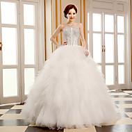Ball Gown Wedding Dress-Floor-length Strapless Tulle