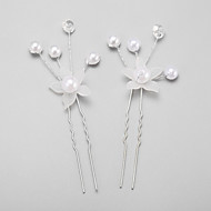 Women's/Flower Girl's Pearl/Alloy/Imitation Pearl Headpiece - Wedding/Special Occasion Hair Pin 2 Pieces