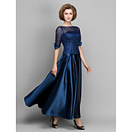A-line Mother of the Bride Dress - Dark Navy Ankle-length Half Sleeve Satin