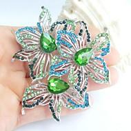 2.76 Inch Silver-tone Blue Green Rhinestone Crystal Flower Brooch Pendant Art Decorations