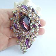 Gorgeous 3.74 Inch Gold-tone Purple Rhinestone Crystal Flower Brooch Pendant Art Deco