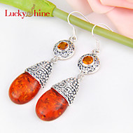 Luckyshine Special Drop Vintage Fire Amber Brazil Citrine Gem Prong Setting Drop Earrings For Wedding Party Daily 1pair