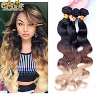 "3Pcs/Lot 10""-30"" Peruvian Virgin Hair Color 1B/4/27 Body Wave Human Hair Weaves"