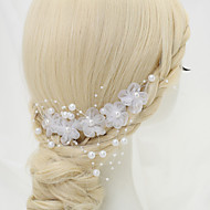 Women's / Flower Girl's Alloy / Imitation Pearl / Chiffon Headpiece-Wedding / Special Occasion Hair Combs 1 Piece White Round