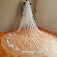 Wedding Veil Two-tier Cathedral Veils Cut Edge Tulle White / Beige