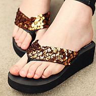 Women's Shoes PVC Flat Heel Flip Flops Slippers Outdoor Black / Brown / Yellow / Red / White