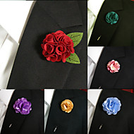 Men's Accessories Silk Blend Lapel Flowers Handmade Boutonniere Stick Pin