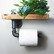 Industrial Urban Style Galvanised Steel Pipe Reclaimed Wood Toilet Roll Holder Bathroom Towel Rrack, Ttoilet Paper-J011