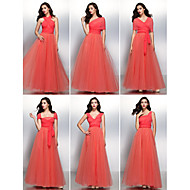 Cocktail Party/Formal Evening Dress - Watermelon A-line V-neck Floor-length Chiffon/Tulle