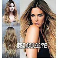 ombre peruk lockigt mode peruk långt blont med mörka rot högsta kvalitet peruker