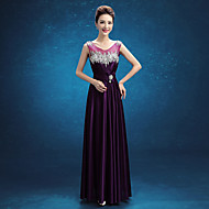 Formal Evening Dress - Regency A-line Scoop Floor-length Stretch Satin