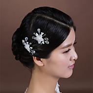 Women's Crystal/Imitation Pearl/Chiffon Headpiece - Wedding/Special Occasion Hair Pin 2 Pieces